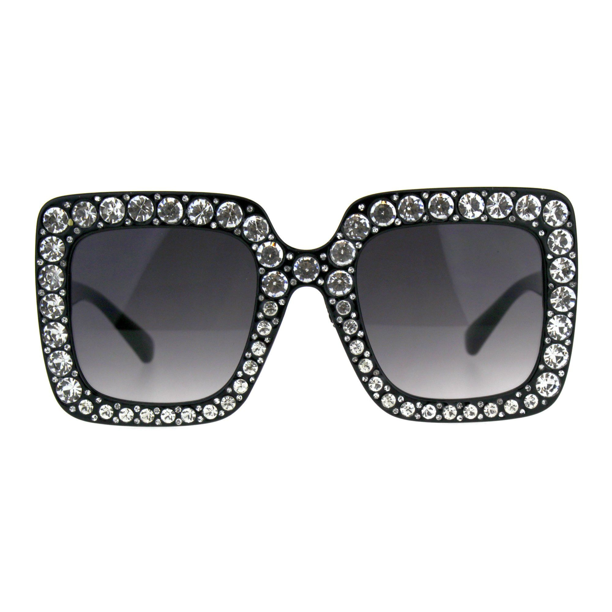 8af4f9032 Blinged Out Rhinestone Sunglasses Womens Super Oversized Square Shades -  Measurements: 5 3/4
