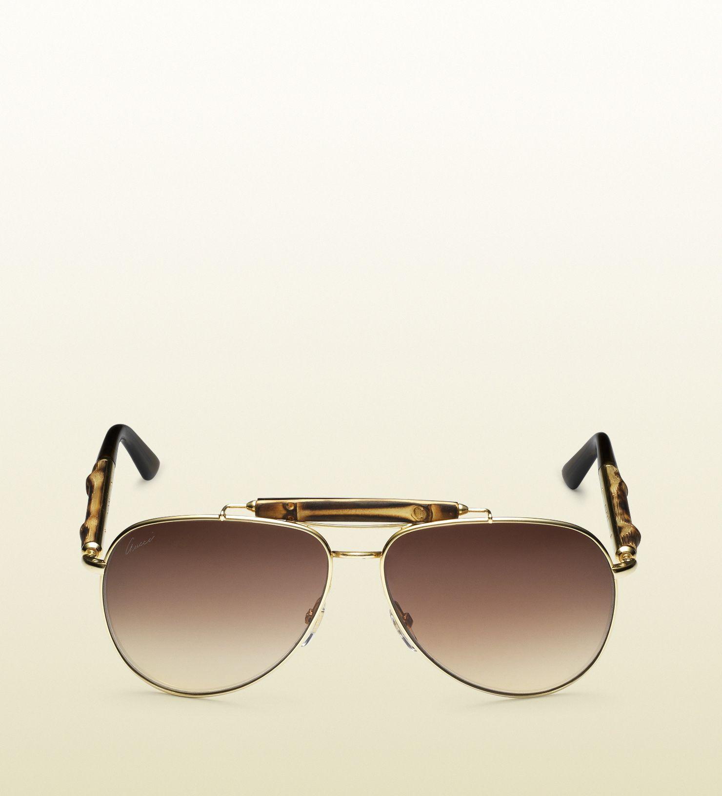 b442e1129e6 GUCCI Bamboo Aviator Sunglasses