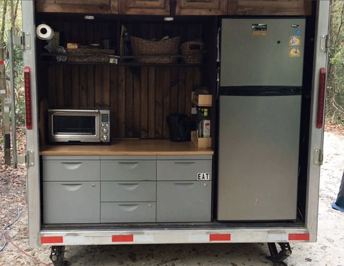 Kitchen in our cargo trailer camper conversion full video at https youtu