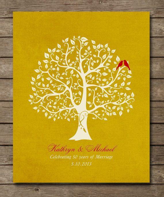 Filipino 50th Golden Wedding Personalized 50th Golden Wedding Anniversary Tree Gift Personalized Family Tree Art Wall Sticker Design Vinyl Tree Wall Decal