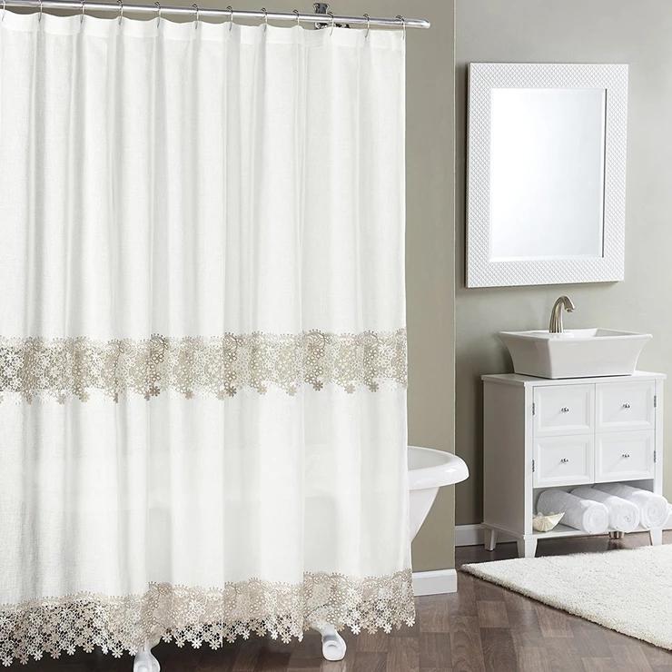 Lillian Macrame Band Fabric Shower Curtain Fabric Shower Curtains Ruffle Shower Curtains Shower Curtain