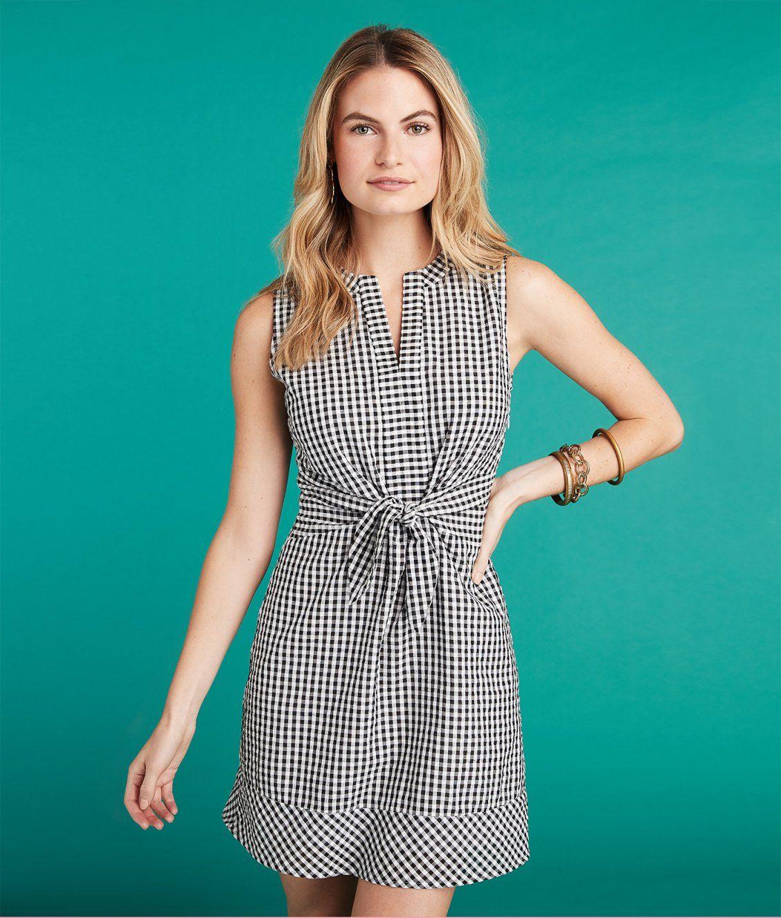 22c3f89dd1 Gingham Seersucker Tie Front Dress