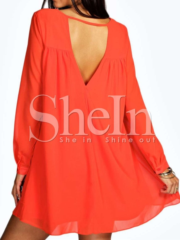 Orange long sleeve backless dress long sleeve backless dress and
