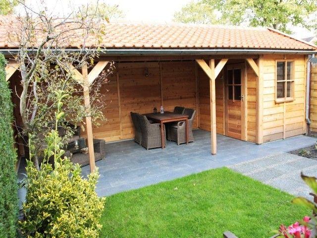 Tuinhuis berging of schuur met zadeldak met overkapping for Berging met veranda