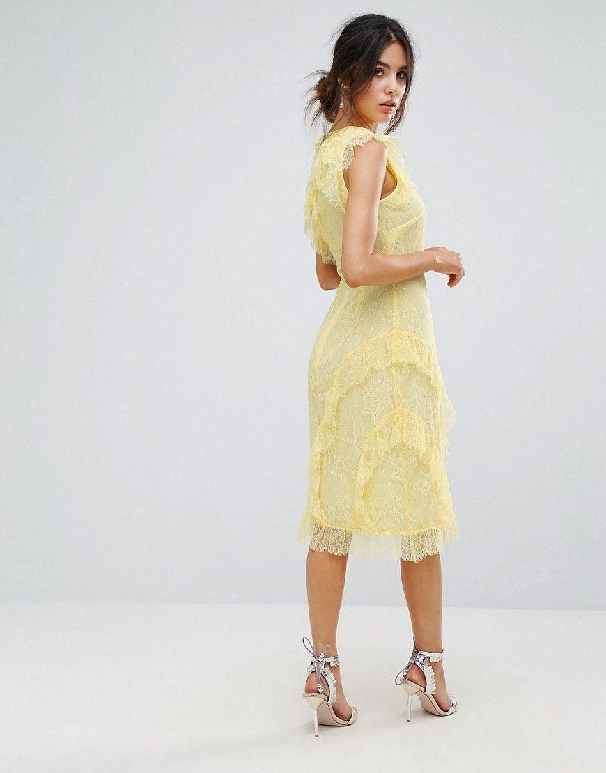 f72b17fe9137 Warehouse Eyelash Lace Frill Dress - Yellow