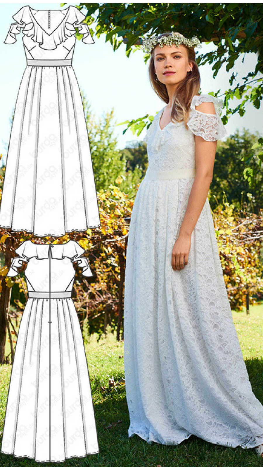 Women S Lace Wedding Dress Sewing Pattern Available For Download Available In Vari Wedding Dress Sewing Patterns Sewing Dresses For Women Sewing Wedding Dress