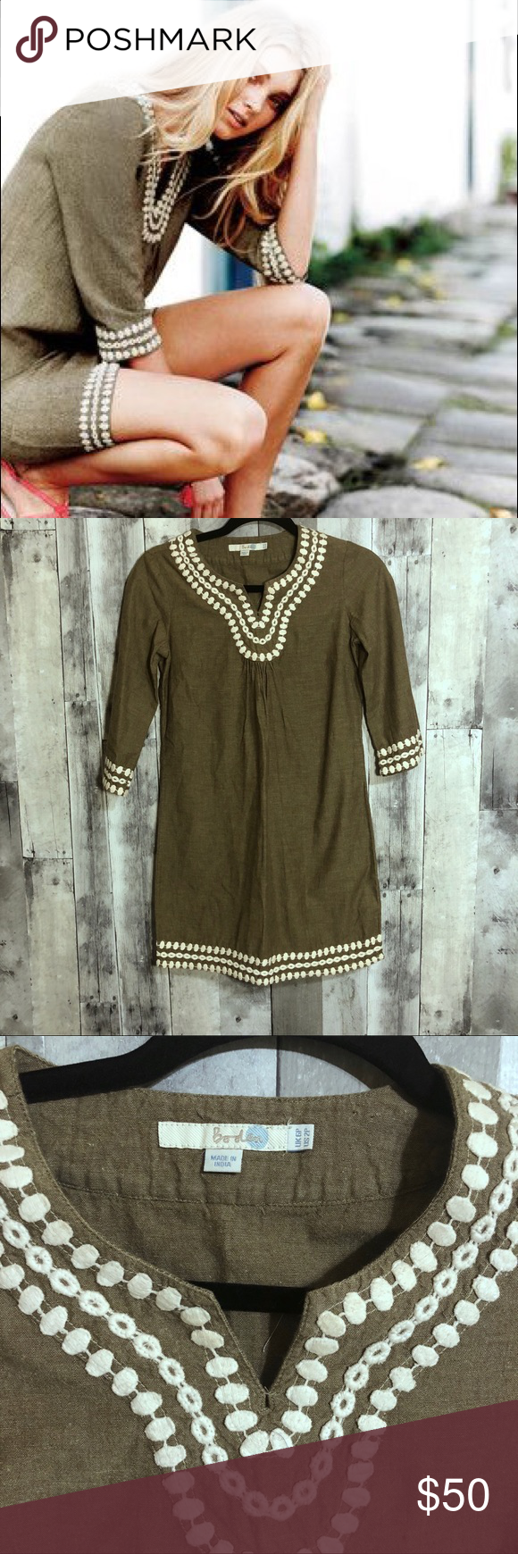 Boden p long island tunic dress embroidered lightly worn boden size