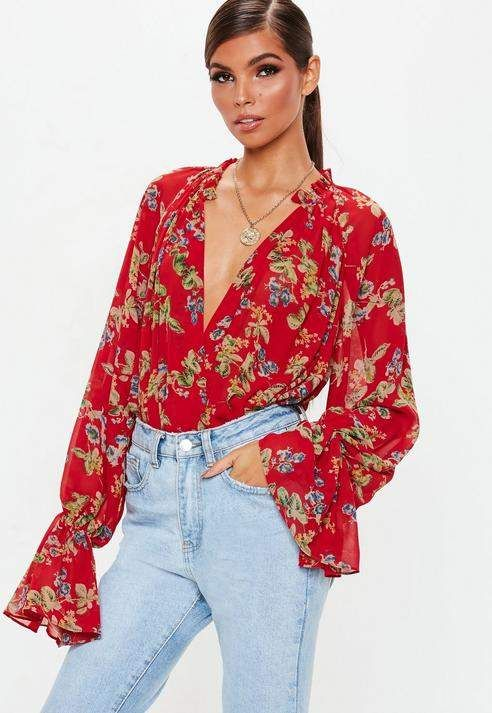 49a4e8b91ce Missguided Red Floral Print Balloon Sleeve Bodysuit