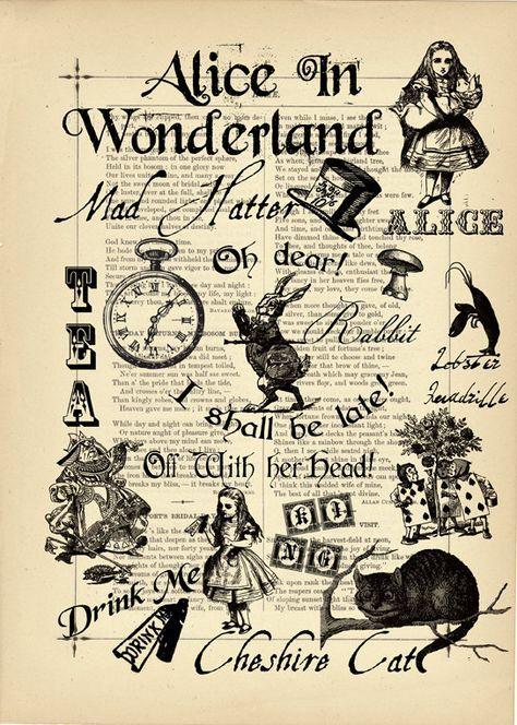 Impression artistique sur la page de livre antique original vintage Alice au pays des merveilles cœur rouge