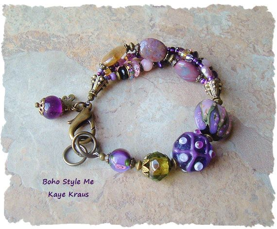 Lampwork Charm Bracelet Handmade Multistrand Beaded by BohoStyleMe