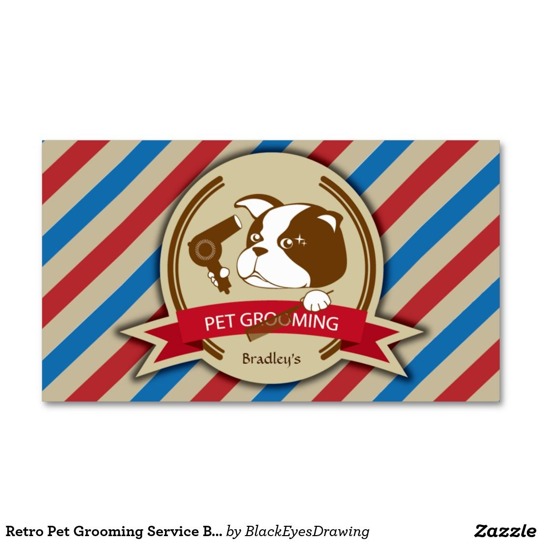 Retro Pet Grooming Service Business Card | Pet grooming, Business ...
