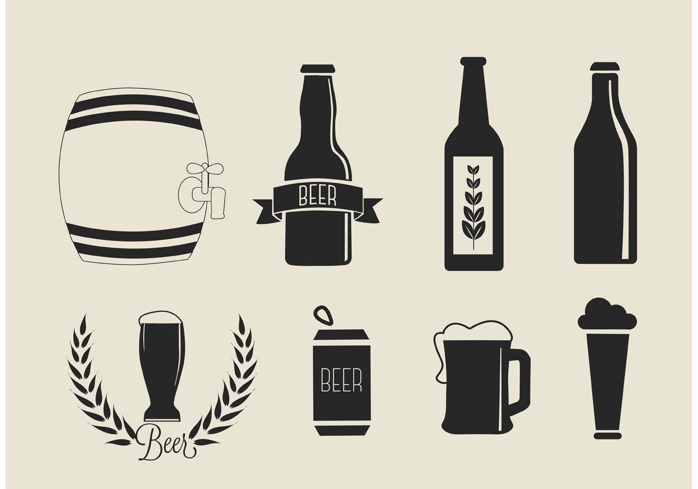 Free Vector Beer Icons Set Download Free Vector Art Stock Graphics Images Beer Icon Beer Drawing Beer