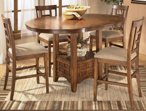 Cross Island Medium Brown Oak Stain 5 Piece Counter Height Dining