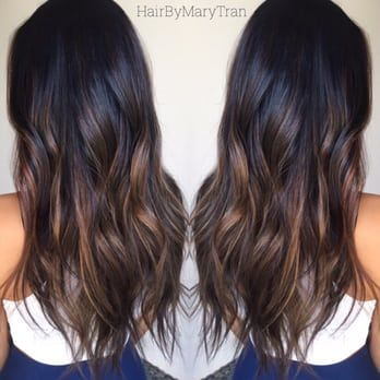 Chocolate subtle Ombre and blended haircut on Asian hair