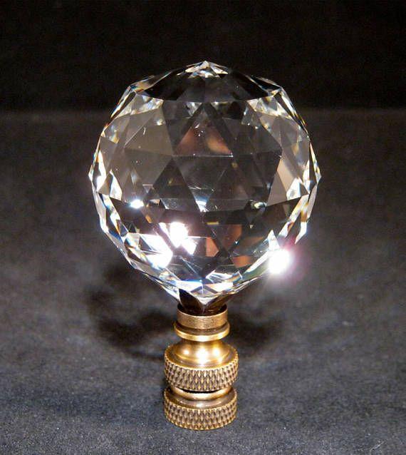 Leaded Crystal Lamp Finial W X2f Antique Brass Base Solid Antique Brass Base Crystal 40 Mm Faceted Leaded Crystal Ball Lamp Finial Crystal Lamp Lamp