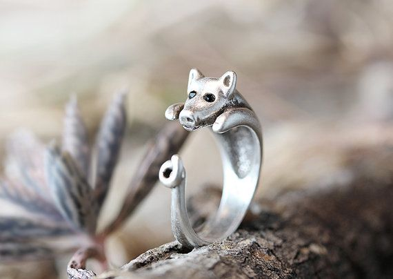 Pig Ring Women's Girl's Retro Burnished Animal Miniature Ring Jewelry Adjustable Free Size Wrap Ring Black Crystal gift idea on Etsy, $9.50