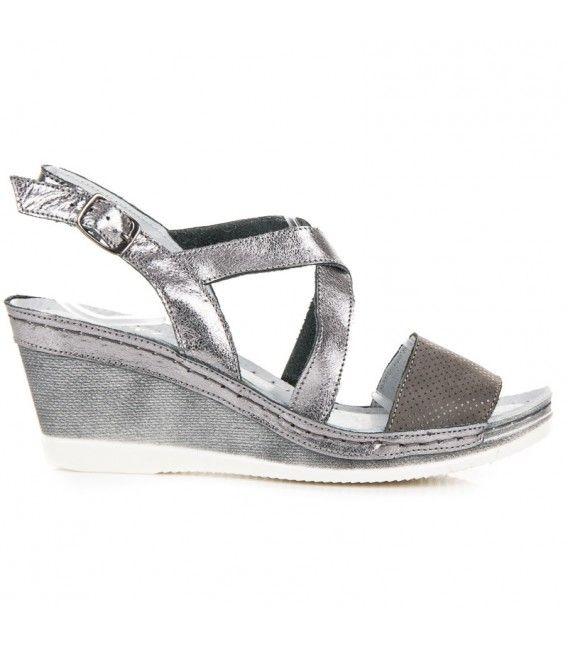 e10b492dcbda7 Striebornomodré kožené sandále na kline   Dámske sandále   Sneakers ...