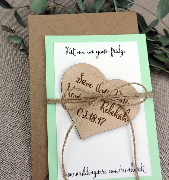 Custom Save The Date Magnet Rustic Wedding Favor Personalised Wooden Gift Bridal Shower Mint Green
