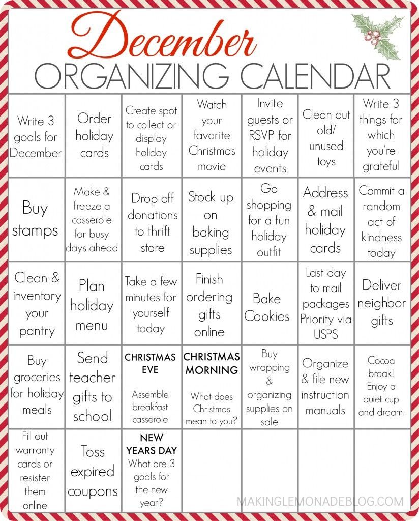 free printable december organizing calendar your entire holiday to do list in one spot with some fun mixed in too
