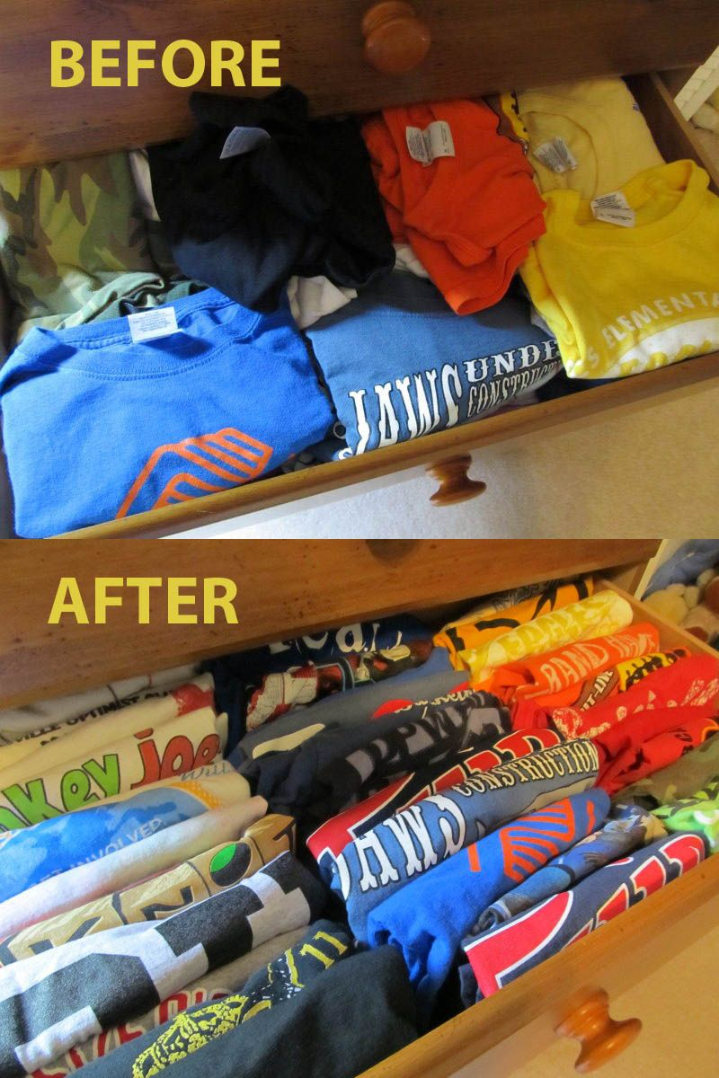Organize All Your Kids T Shirts By Placing Them In Drawer Vertically.