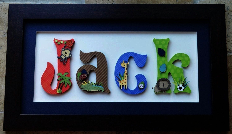 Framed Boys Personalized Childrens Art Jungle Theme  Four 8 letter hei Items similar to Framed Boys Personalized Childrens Art Jungle Theme  Four 8 letter height letters...