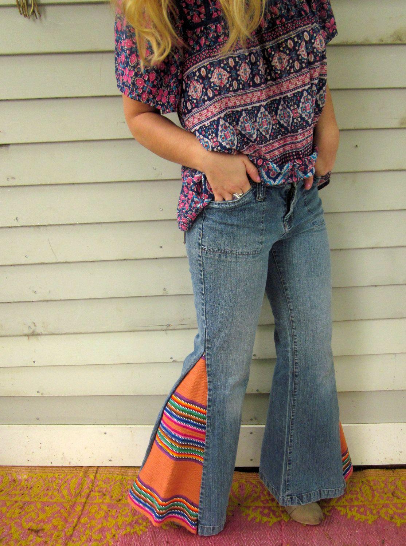flared pants 70s style handmade and organic dye canvas pants Cotton pants