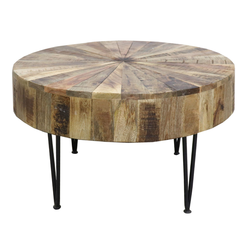 Mango Wood Round Coffee Table With Black Metal Legs At Home Coffee Table Mango Wood Coffee Table Round Coffee Table [ 1000 x 1000 Pixel ]