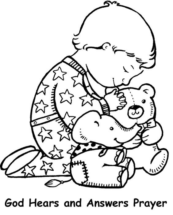 God Hears And Answers Prayer Coloring Page Sunday School