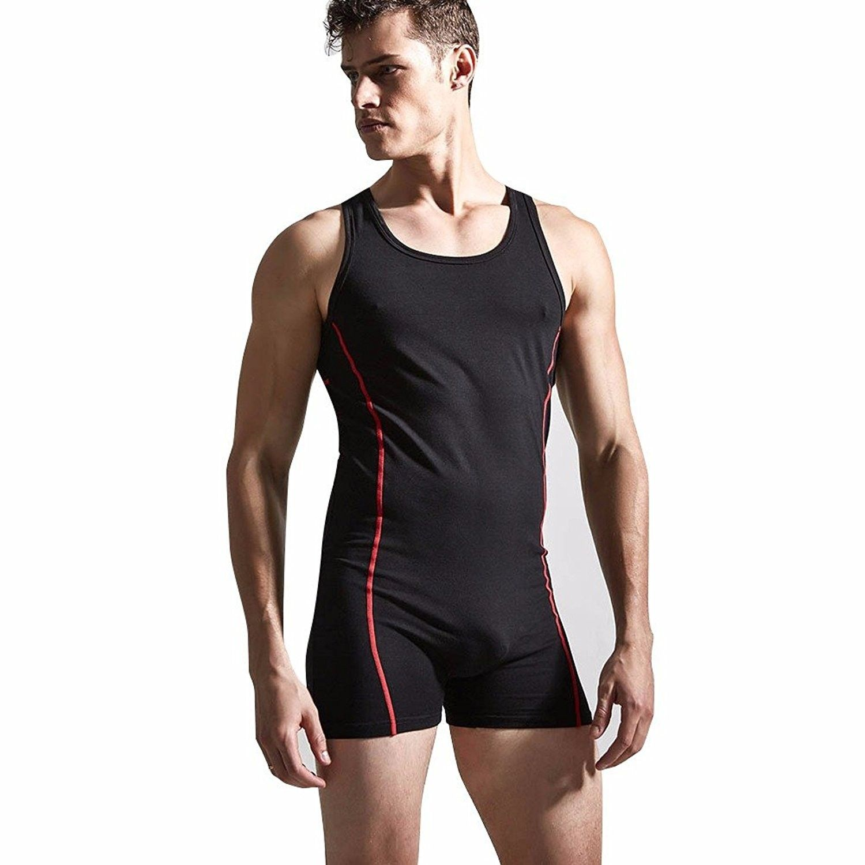 Men Wrestling Leotard Fitness Vest Sport Gym Underwear Singlet Jumpsuit BodySuit