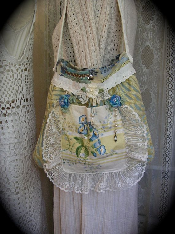 Girly Fabric Bag soft sage cornflower blue by TatteredDelicates, $80.00