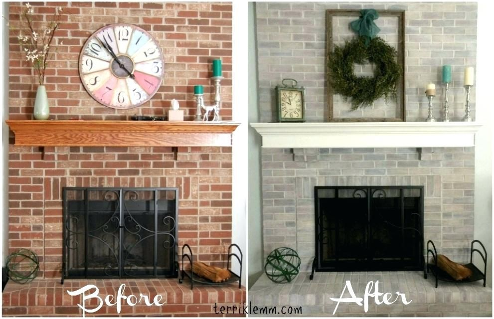Painted Brick Fireplace Before And After Painted Brick Fireplaces Brick Fireplace Before And Brick Fireplace Makeover Brick Fireplace Remodel Fireplace Remodel