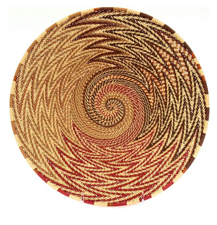 South African Baskets: Shallow Copper Wire Basketry Bowl From The Zulu