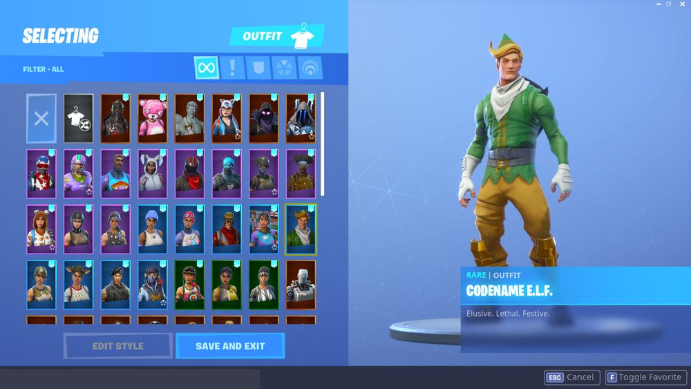 Fortnite Account With OG E L F,Mako Glider,Candy Axe,Black