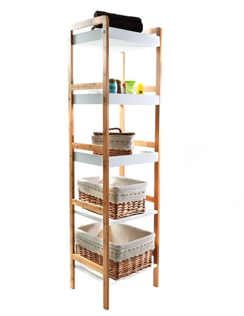 Gloss White And Bamboo Shelving Unit 5 Tier Great For Bathroom Storage Home Decor Furniture