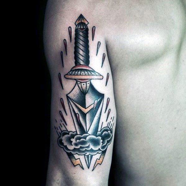 Mens Back Of Arm Traditional Dagger Through Clouds Tattoo Tattoo