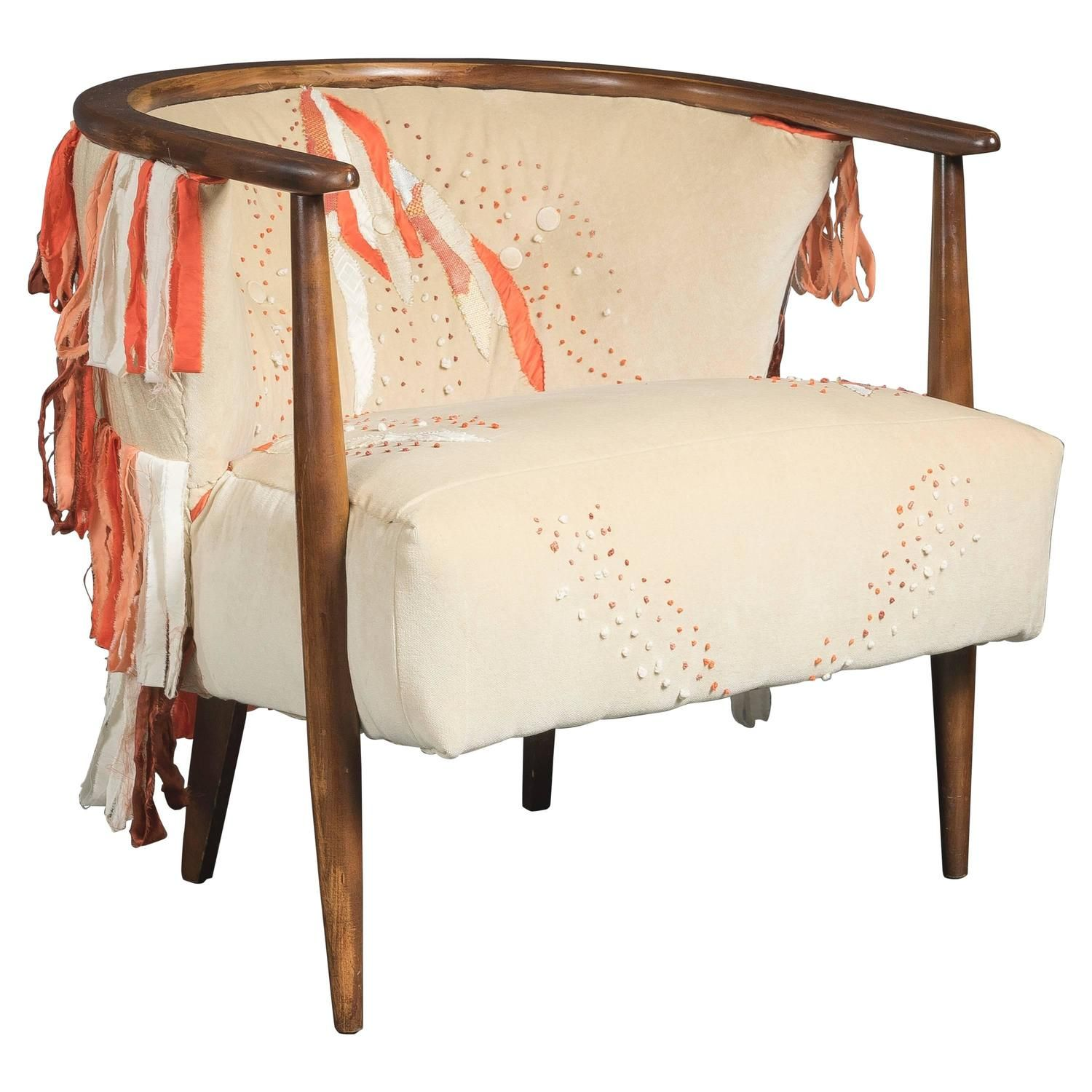Mid Century Ivory Barrel Chair with Hand Embroidery