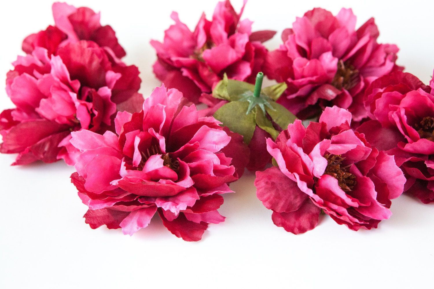 Set Of 9 Wild Peonies In Rich Hot Pink Silk Flowers Artificial