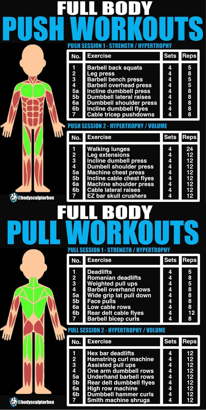 push pull and legs is a very simple yet effective training split for anyone ranging from those picking up their first barbell to hardened gym veterans  [ 800 x 1590 Pixel ]