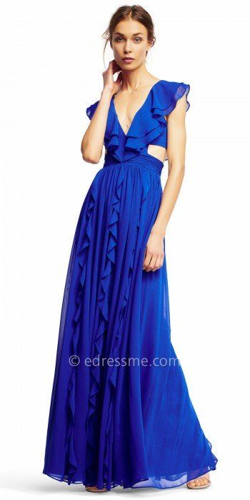 Wow the crowd upon your arrival in this Side Cut Out Ruffled Evening Dress from Aidan by Aidan Mattox. This luxurious style features a plunging V-shape neckline and sexy side cut outs. This style also includes chiffon ruffles along the neckline that continue into the A-line skirt all the way to the hemline. #edressme