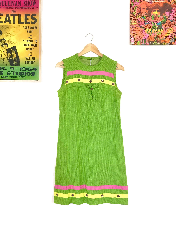 60s green dress  s mod shift dress embellished bow tie striped green sleeveless
