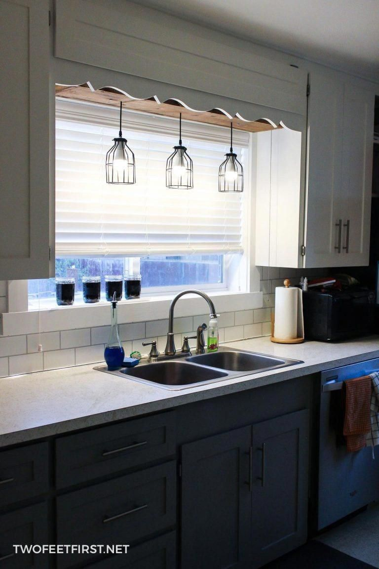 Looking for a way to update your kitchen? Then it's time to look at the lighting! Here is a custom pendant light you can build. #diy #pendantlight #kitchen #twofeetfirst #kitchenredo