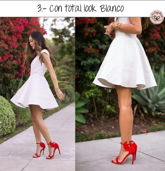 Vestido blanco y zapatos rojos