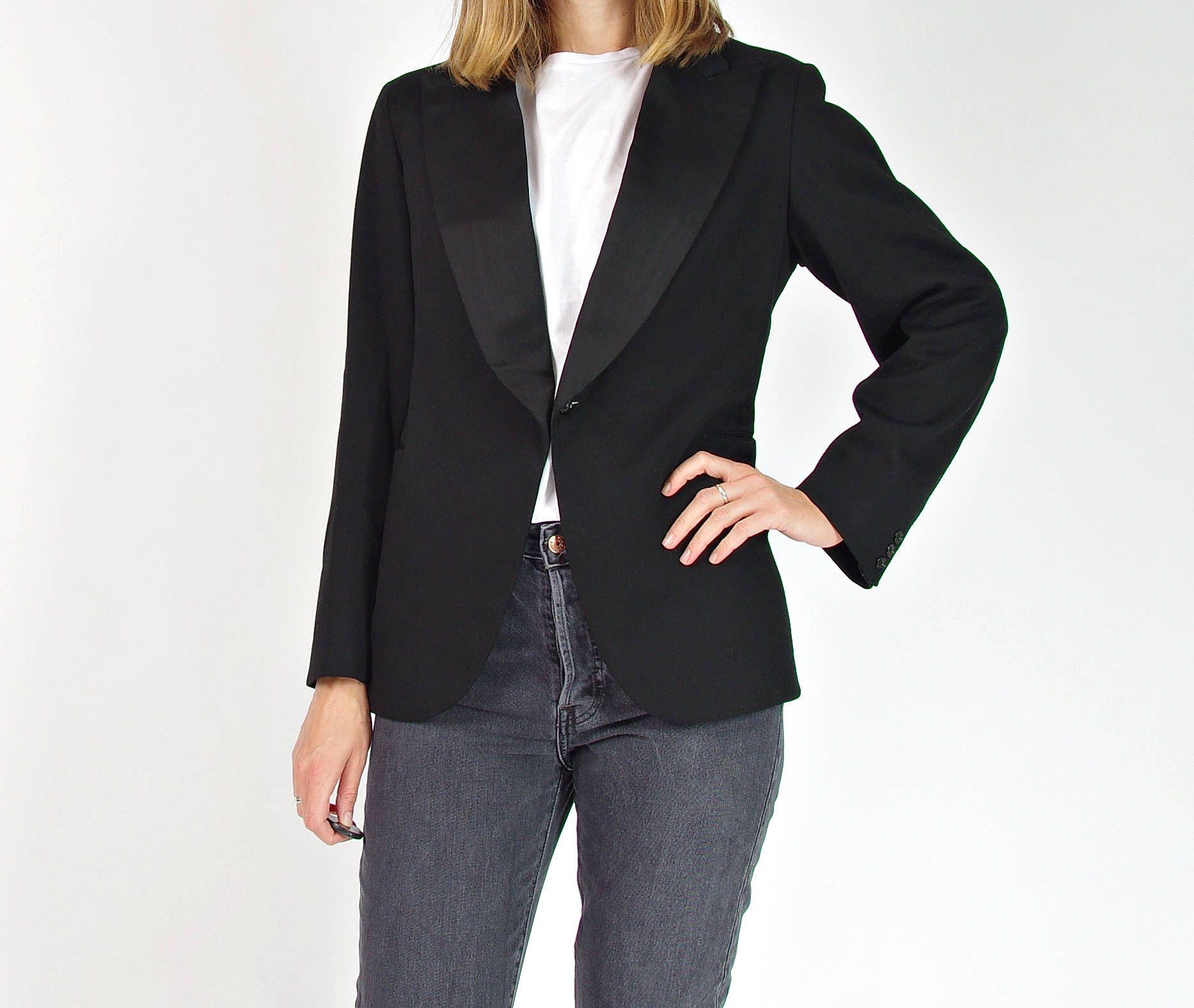 1930s Black wool women's tuxedo jacket / size SM by