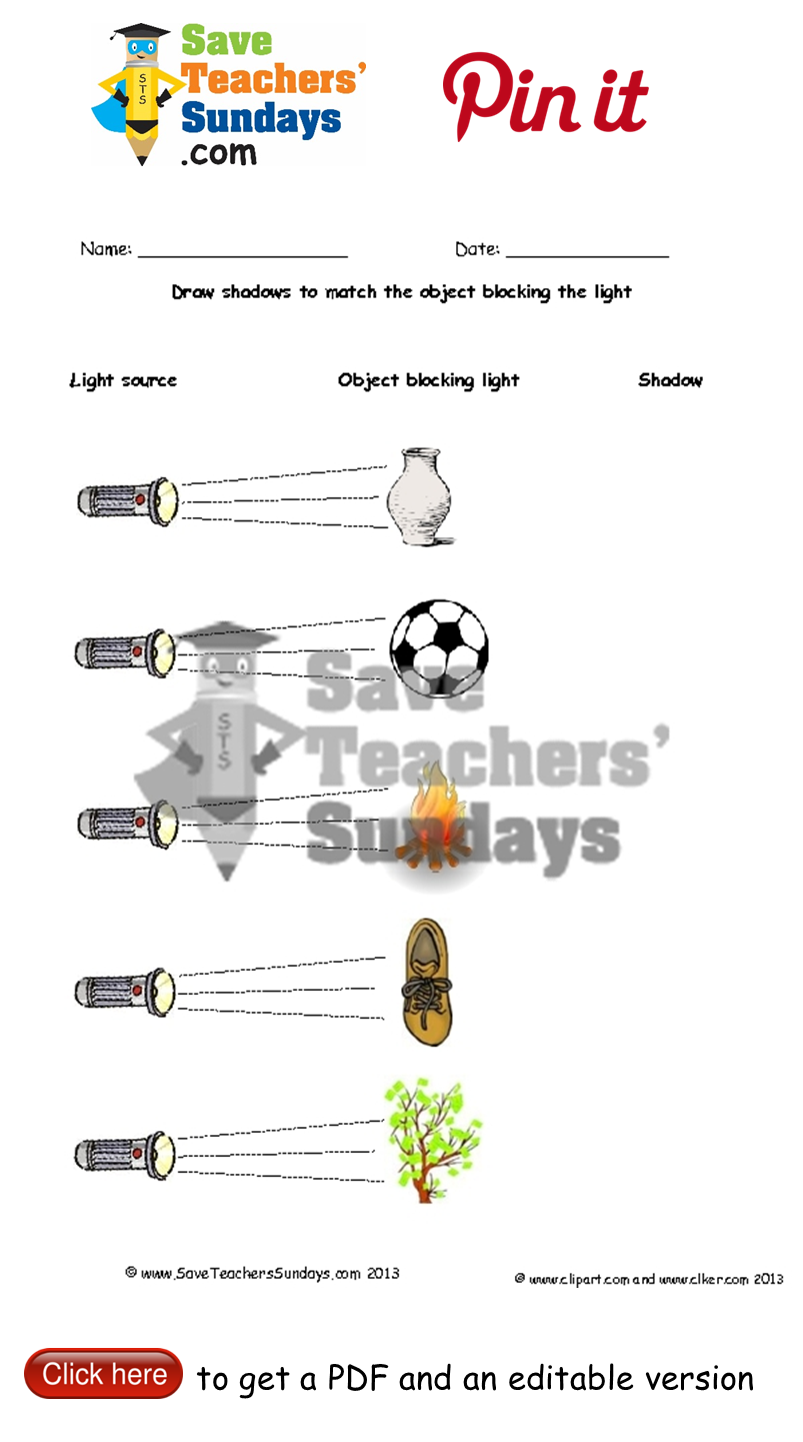 Workbooks worksheets on light and shadows : Draw shadows in the shape of objects blocking light. Go to http ...