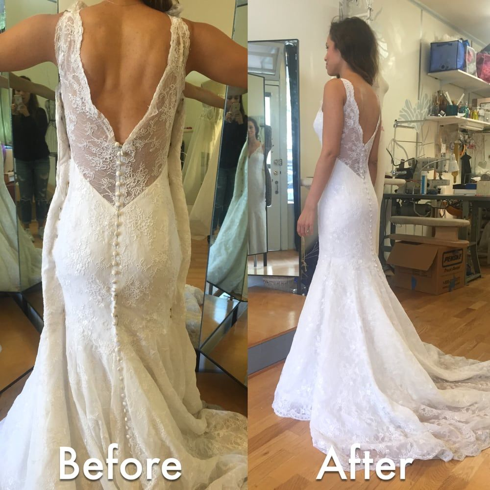 Awesome Wedding Dress Alterations Before After Wedding Dress Alteration Initially It Was A Size With Images Wedding Dress Alterations Popular Wedding Dresses Wedding Dresses