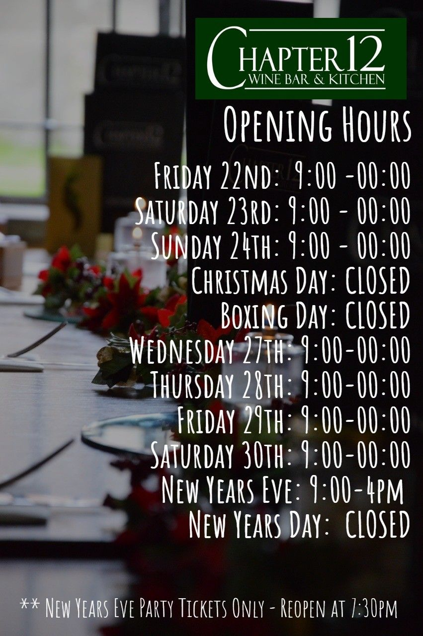 Christmas Opening Hours New Year S Day New Years Eve Cocktails