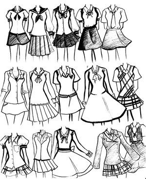 Girls School Uniforms Manga Clothes Anime Outfits Drawing Clothes