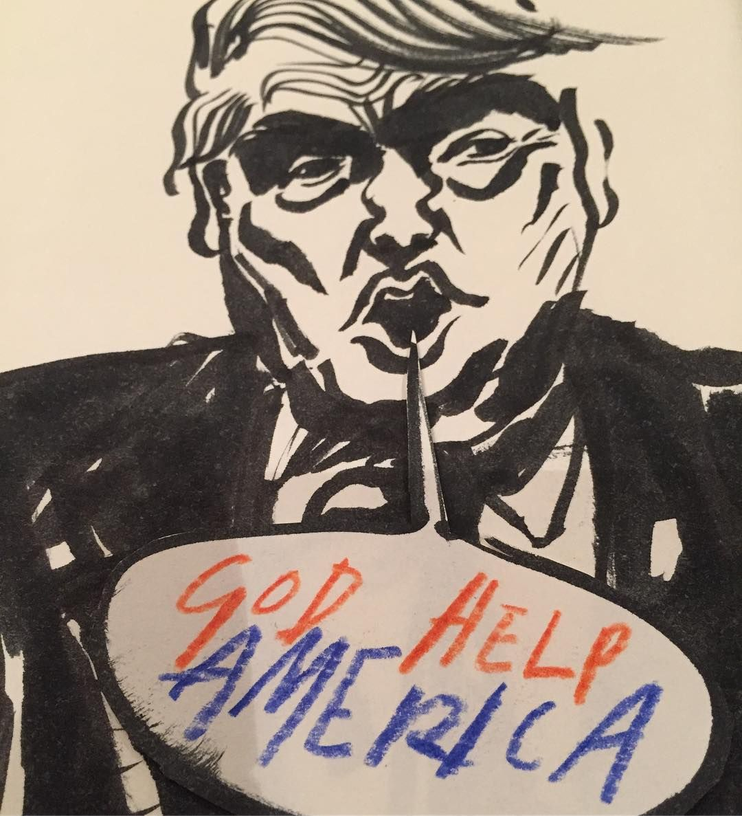 God Help America....#trumpinauguration #inauguration #trump #usa #election2016 #whitehouse #politricks #illustration #studiospilsbury #drawing #artist #brushpen #ink #cartoon