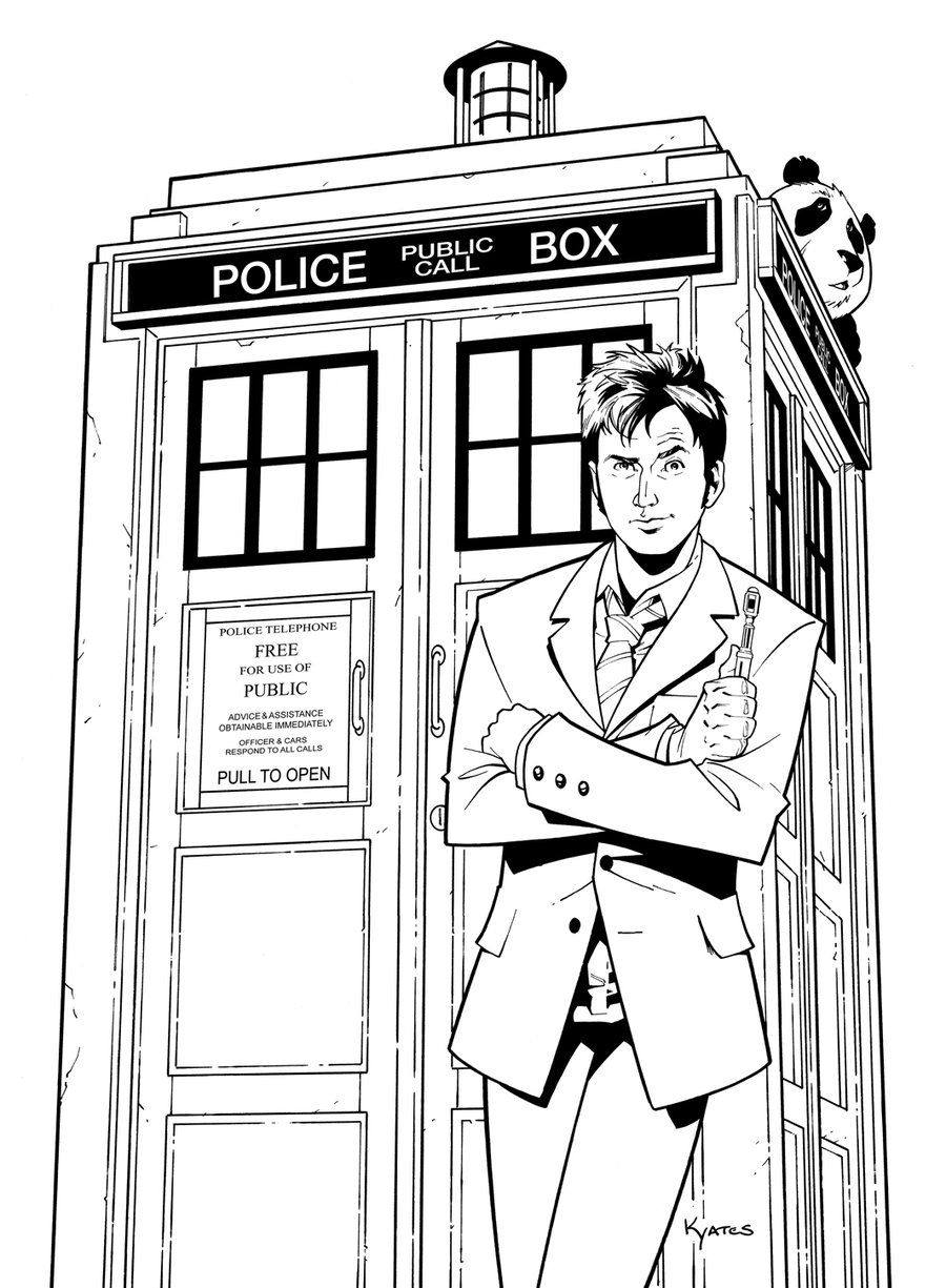 Coloring pages for doctors - Doctor Who Tardis Doctor Partyadult Coloring Pagescoloring