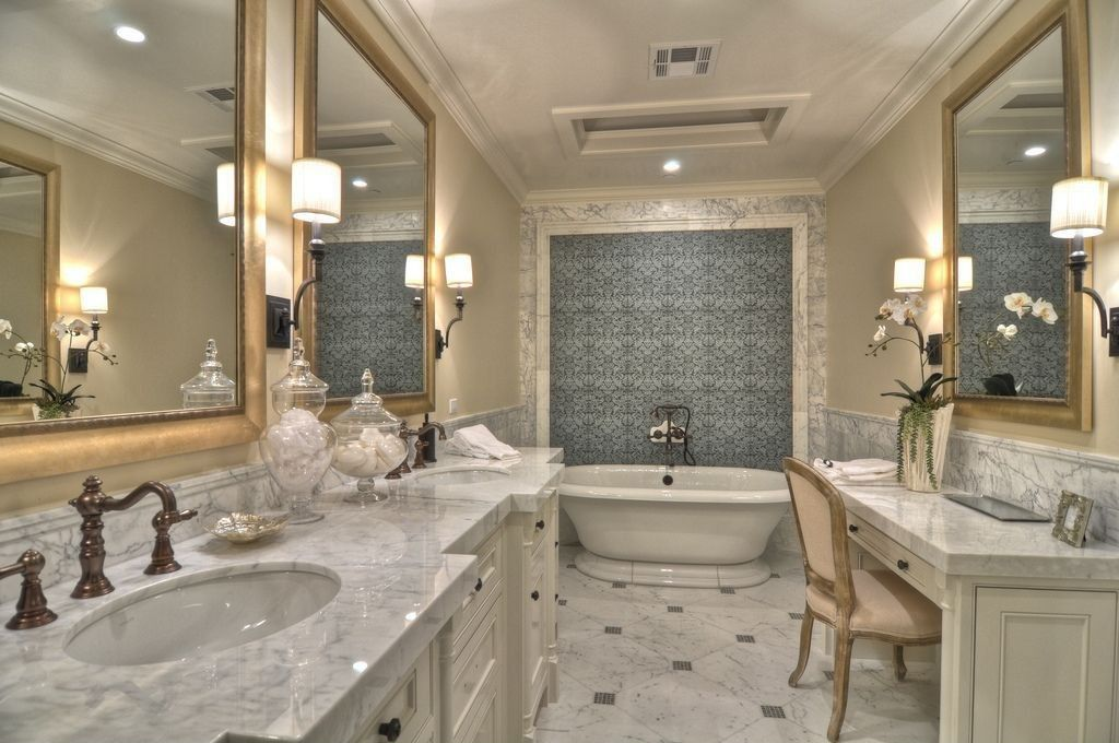 Traditional Master Bathroom With Anne Sacksanticosti Rochefort Mosaic Wall Tile Complex Marble Wall Sconce Frees Master Bathroom Design Small Master Bathroom